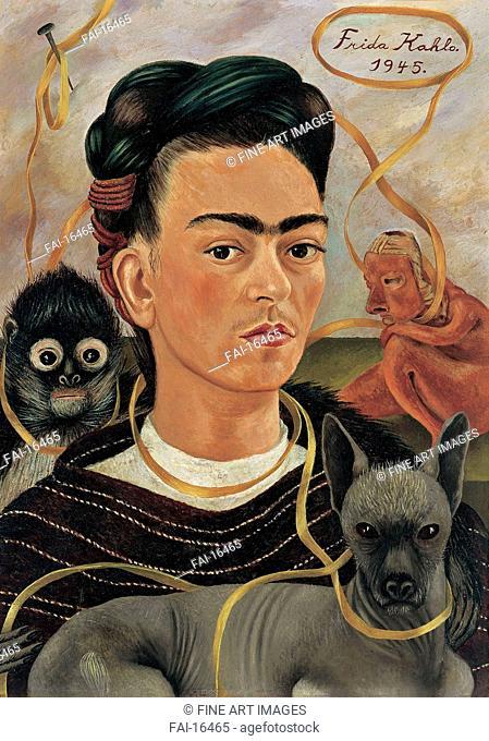 Self-Portrait with Small Monkey. Kahlo, Frida (1907-1954). Oil on hardboard. Surrealism. 1945. Museo Dolores Olmedo Patino, Mexiko City. 56x41,5