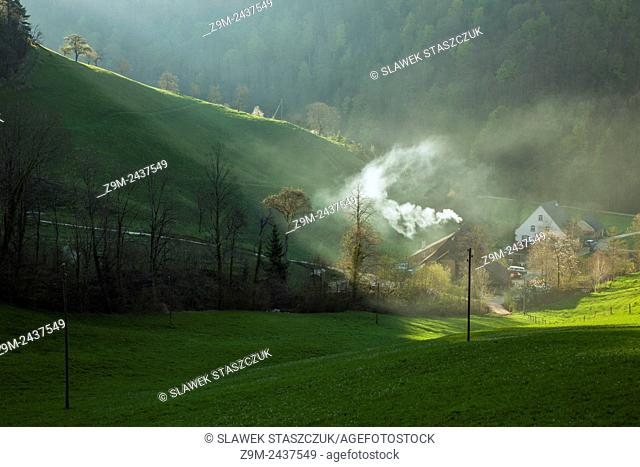 Spring morning in Swiss Jura mountains near Lagenbruck, canton Basel-Country