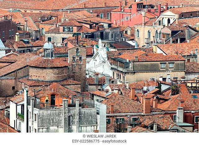 View overlooking tile rooftops in Venice, Italy