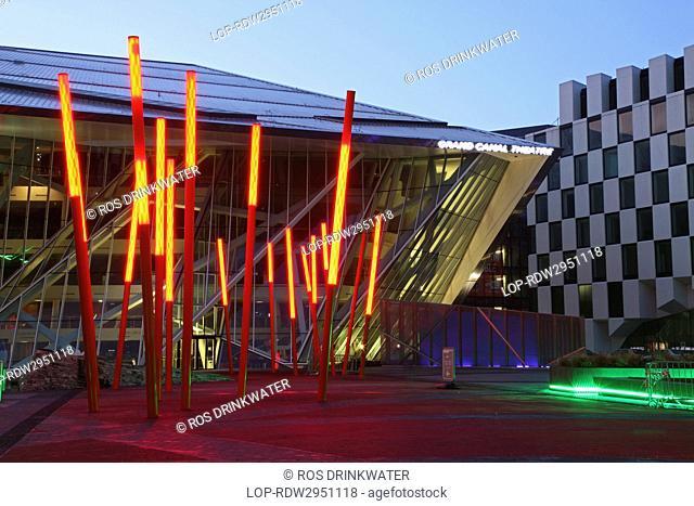 Republic of Ireland, Dublin City, Dublin. Daniel Libeskind's Grand Canal Theatre in Grand Canal Square, at twilight