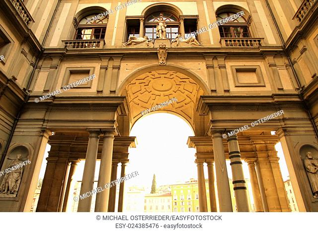 The Piazzale degli Uffizi in Florence, Italy, Europe