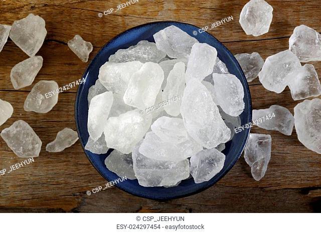 bowl of white rock sugar