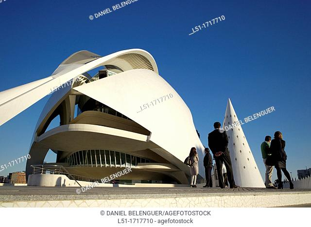Business men and women on Ciudad e las Artes y las Ciencias, Valencia, Spain