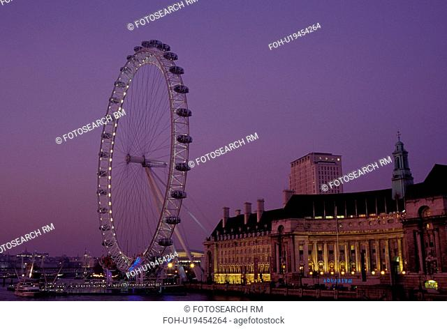 The London Eye, London, England, Great Britain, United Kingdom, Europe, British Airways London Eye along the River Thames in the evening