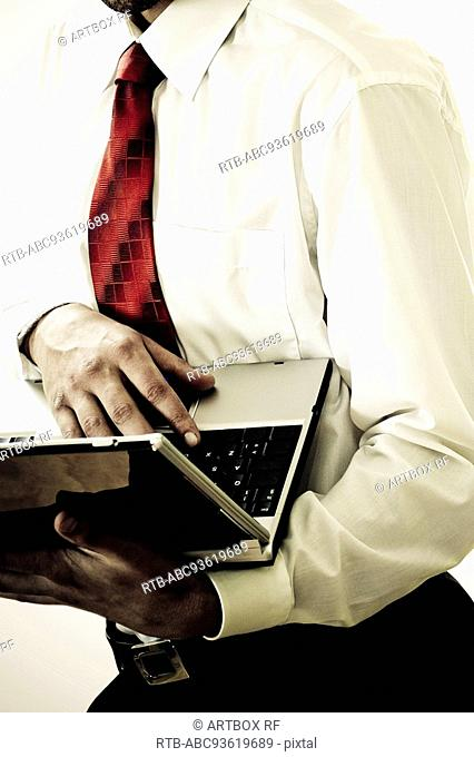 Businessman working on a laptop