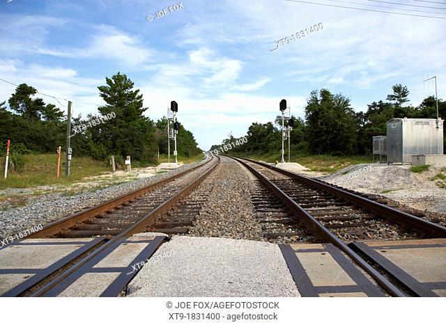 railroad crossing dual train tracks railroad florida usa