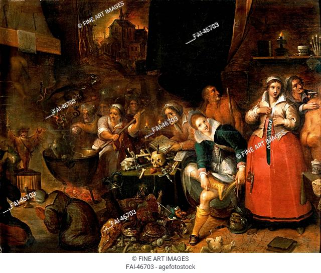 The Witches' Kitchen by Francken, Frans, the Younger (1581-1642)/Oil on wood/Baroque/c. 1610/Flanders/Art History Museum, Vienne/52x66,1/Mythology