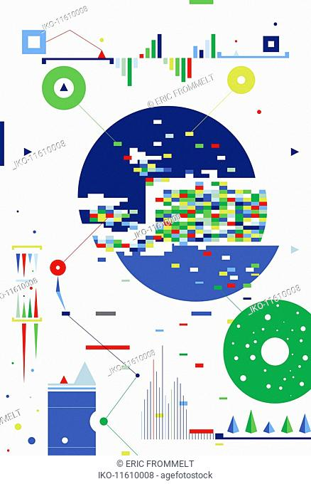 Abstract geometric shapes, graphs and charts