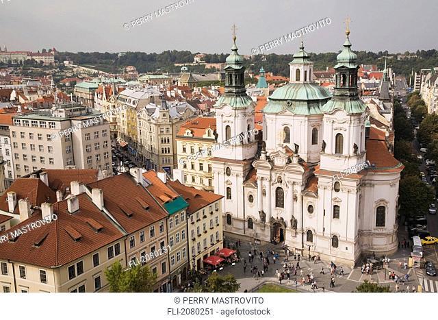 Baroque style Church of Saint-Nicholas in the Old Town Square, Prague, Czech Republic