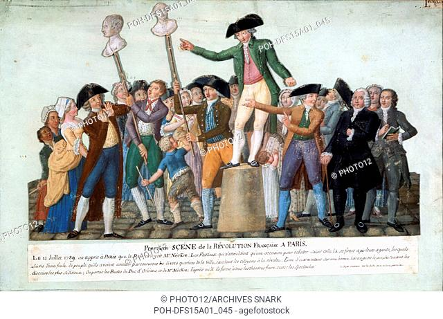 Jean-Baptiste Lesueur French school First uprising of the French Revolution in Paris caused by the discharge of Minister Necker. 12 July 1789