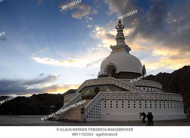 Shanti stupa on a hill above the Leh oasis, Ladakh, Northern India, the Himalayas, Asia
