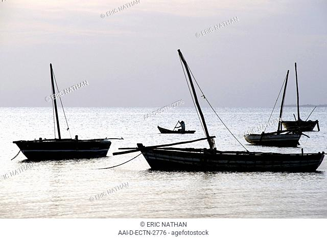 Lone boatman off the beach of Guludo in the Quirimbas archipelago in northern Mozambique