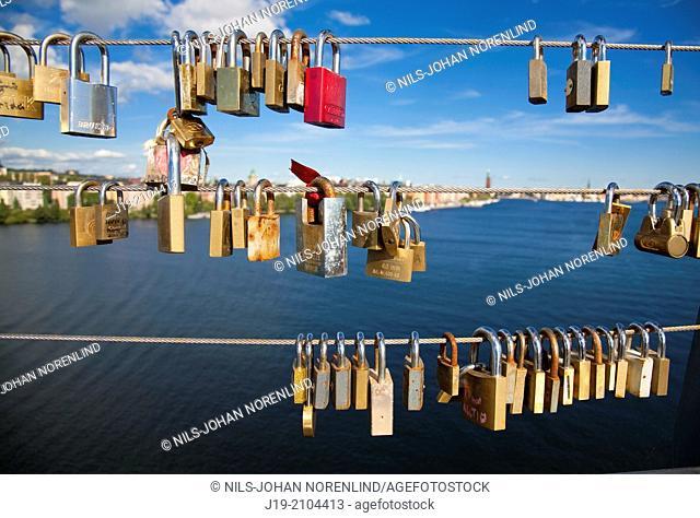 The locks on vester bridge (symbolism of faith and love) Stockholm sweden