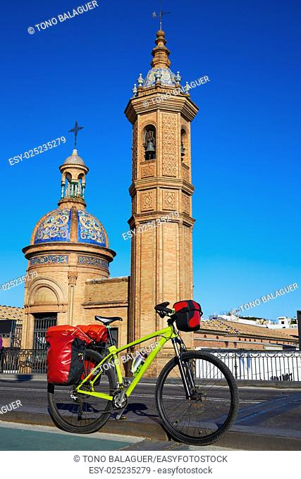 Via de la plata bike at Isabel II bridge Capilla del Carmen in Triana Seville Andalusia Spain