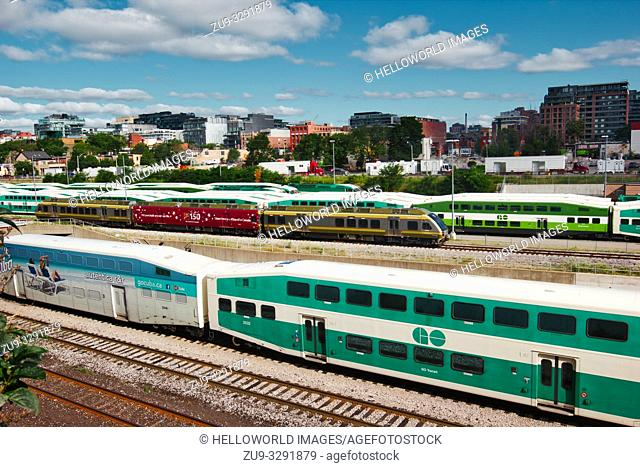 Double decker bi-level GO transit trains, Union Station, Toronto, Ontario, Canada