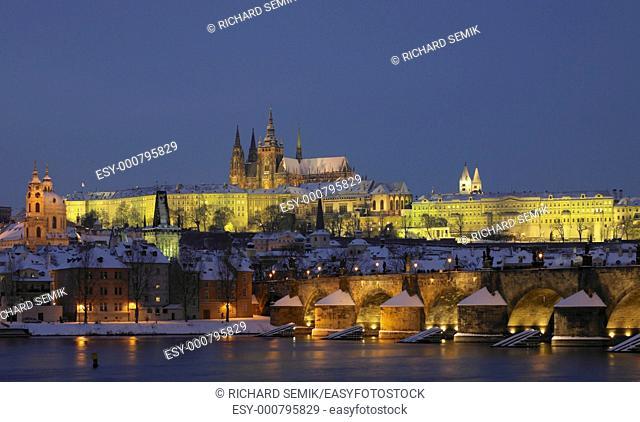 Prague Castle with Charles bridge in winter, Prague, Czech Republic