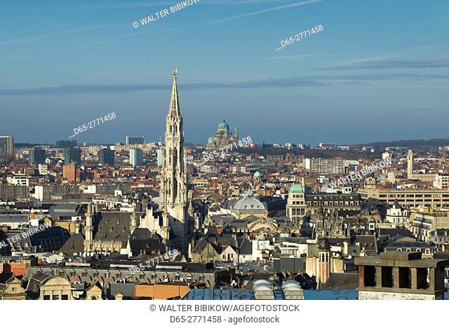 Belgium, Brussels, Grand Place, elevated skyline with Hotel de Ville