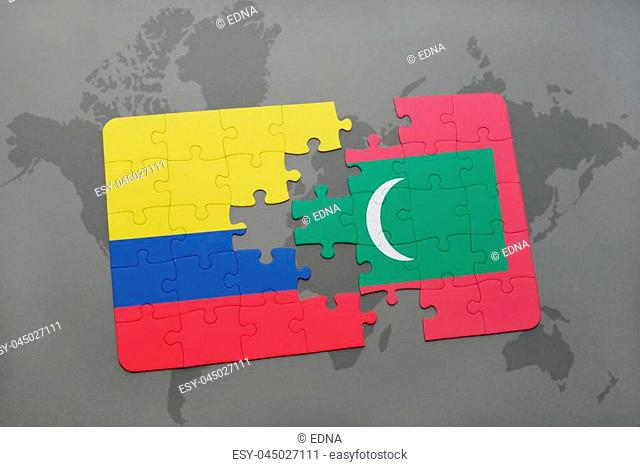 puzzle with the national flag of colombia and maldives on a world map background. 3D illustration