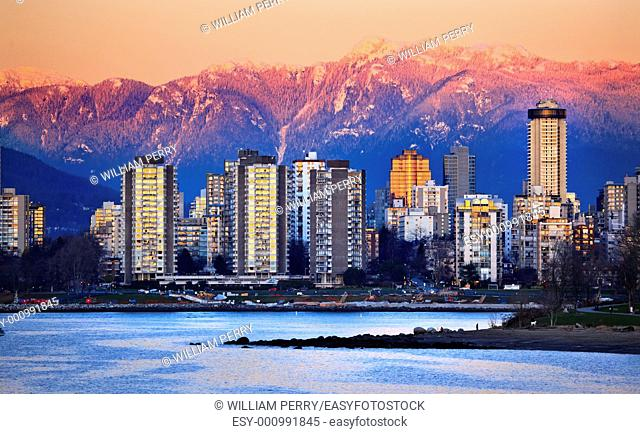 Vancouver Skyline Harbor High Rises Sailboat English Bay From Jericho Beach Snow Mountains Sunset British Columbia Pacific Northwest