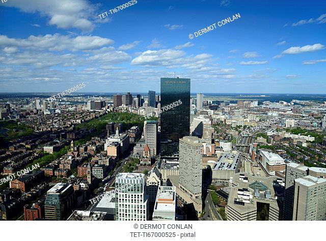 Massachusetts, Boston, Sunny panorama of city