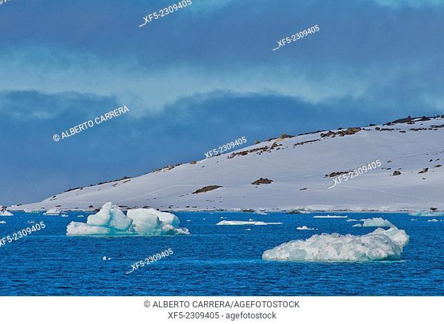 Iceberg, Blue Ice floes, Drift floating Ice, Arctic, Spitsbergen, Svalbard, Norway, Europe