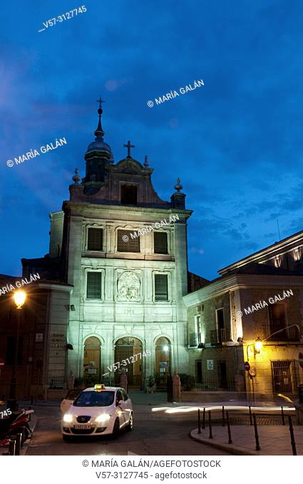 Sacramental Castrense cathedral, night view. Madrid, Spain