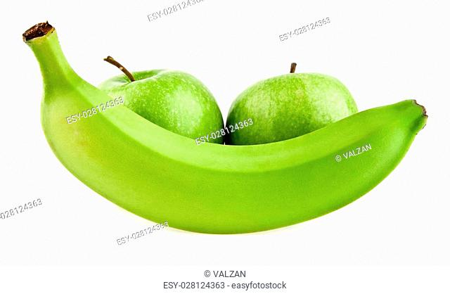 banana and apples on a white background