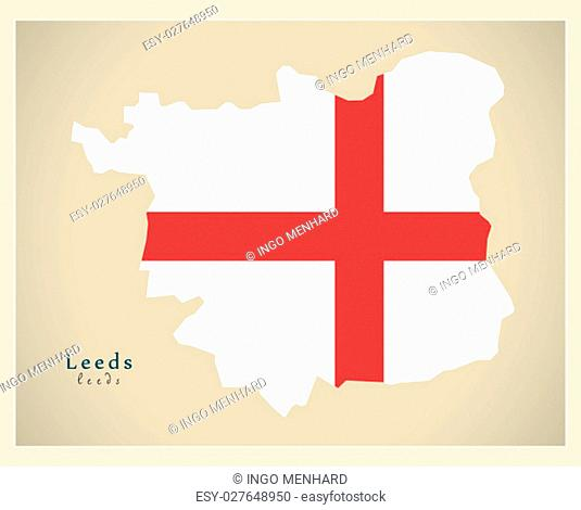 Modern City Map - Leeds with flag of England illustration