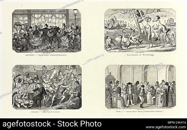 January - Twelfth Night Drawing Characters from George Cruikshank's Steel Etchings to The Comic Almanacks: 1835-1853 (top left) - 1841, printed c