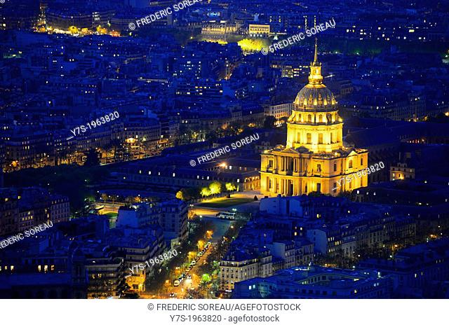 Aerial view of Paris by dusk. Illuminated Invalides in Paris,France,Europe