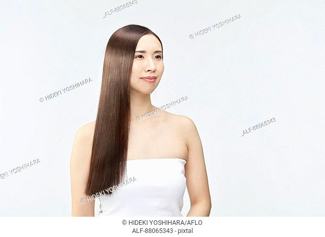Young Japanese model with beautiful hair