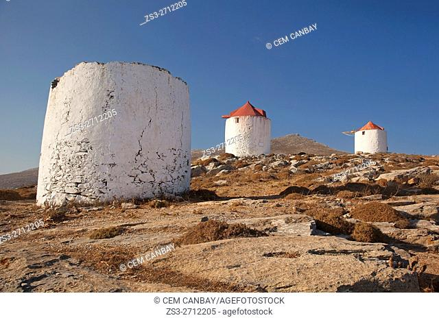 Traditional windmills on the hill in Chora, Amorgos, Cyclades Islands, Greek Islands, Greece, Europe