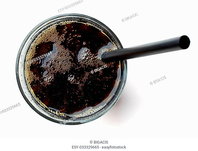 Glass of cola drink isolated on white background, top view