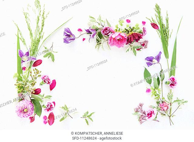 An arrangement of flowers forming a frame