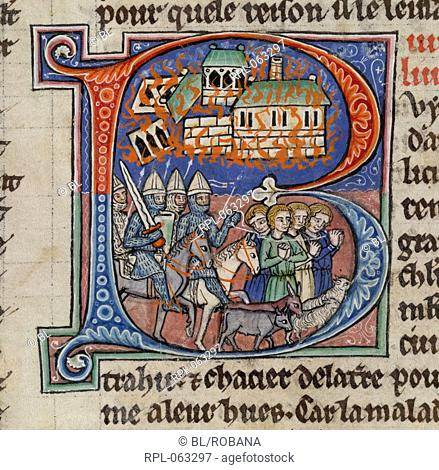 Saladin ravaging the Holy Land Miniature only Book XXII. Initial 'B' showing Saladin's troops ravaging the Holy Land during the Third Crusade