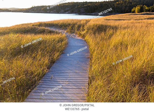 Boardwalk at Michepicoten Beach, Ontario Canada