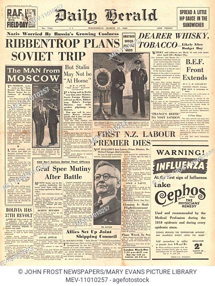 1940 front page Daily Herald Ribbentrop plans Soviet trip, Whisky and Tobacco price increase, New Zealand Prime Minister Michael Savage dies