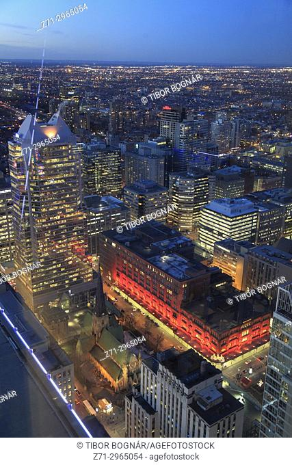Canada, Quebec, Montreal, skyline, KPMG Tower, The Bay Store, aerial view,