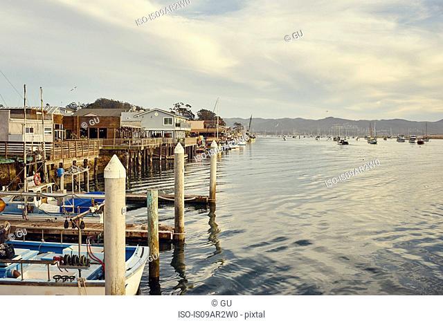 View of harbor and sea, Morro Bay, California, USA