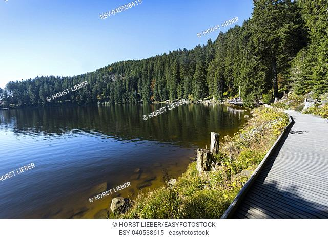 The Mummelsee in the Black Forest surrounded by mountains-Baden Wuerttemberg-Germany