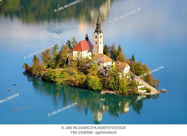 Lake Bled and Santa Maria Church, Slovenia