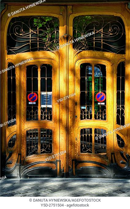 Entrance door - Art Nouveau Hotel Solvay - house designed by Victor Horta 1898-1900 for Armand Solvay, together with three other town houses of Victor Horta