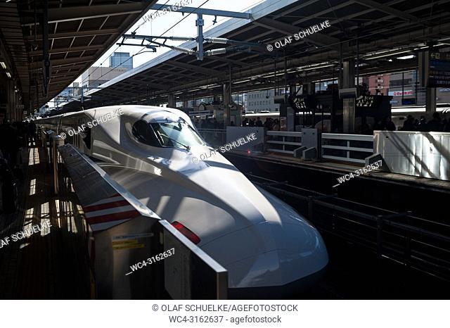 30. 12. 2017, Nagoya, Japan, Asia - A Shinkansen Bullet Train at Nagoya's Central station