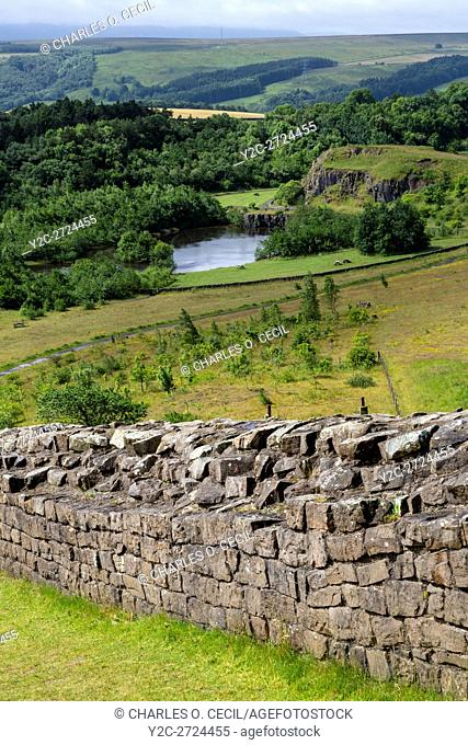Northumberland, UK, England. Hadrian's Wall above Walltown Quarry, near Gilsland