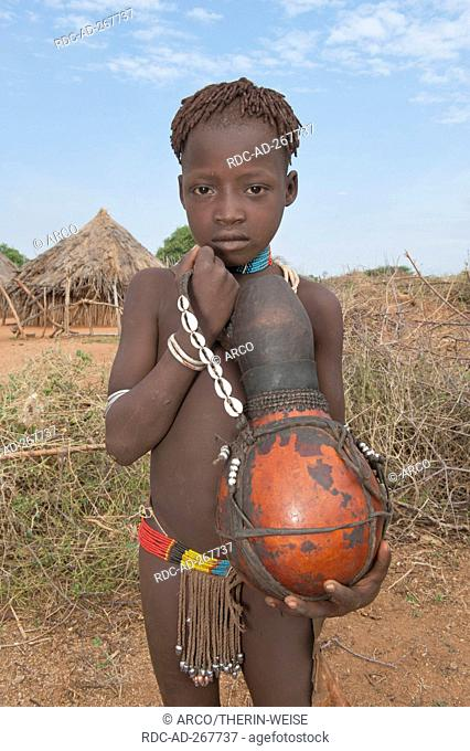 Hamar boy with calabash, Omo river valley, Southern Ethiopia