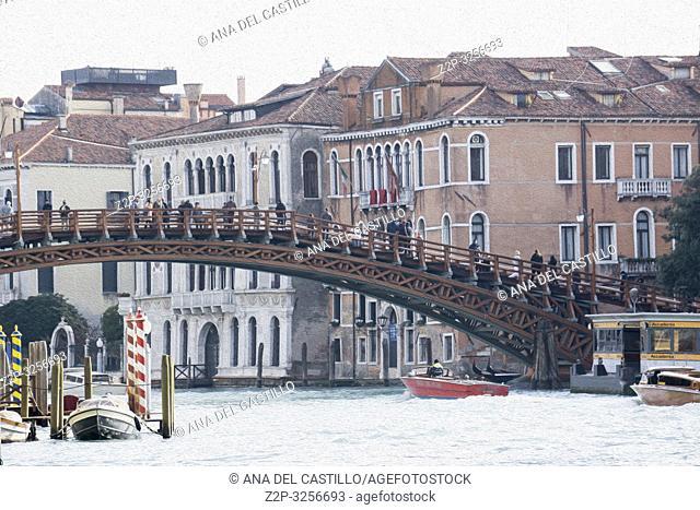Venice, Veneto, Italy: Accademia bridge at Grand Canal