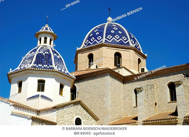 Blue dome of the the church Virgen del Consuelo with typical tiles azulejos, Altea, Costa Blanca, Spain