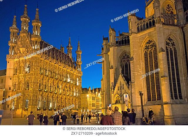 The Gothic town hall in Brabantine Late Gothic style at the Grote Markt / Main Market square, Leuven / Louvain, Belgium. Leuven Belgium 15th century late gothic...