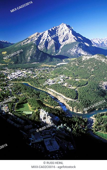 Aerial of Banff, Alberta, Canada