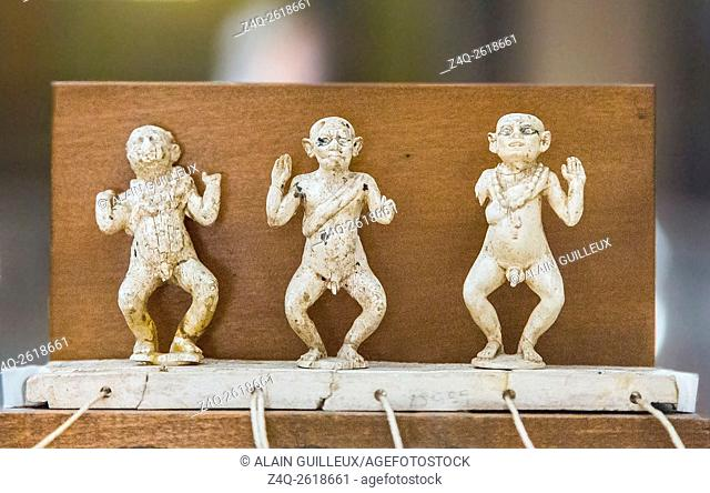 Egypt, Cairo, Egyptian Museum, 3 dancing dwarfs in ivory. This toy was found in the tomb of a girl called Hapy, Lisht, Middle Kingdom